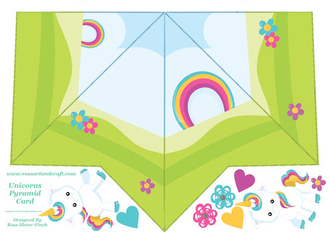 Rainbow Unicorn Pyramid Shaped Card Digital Cardmaking Download