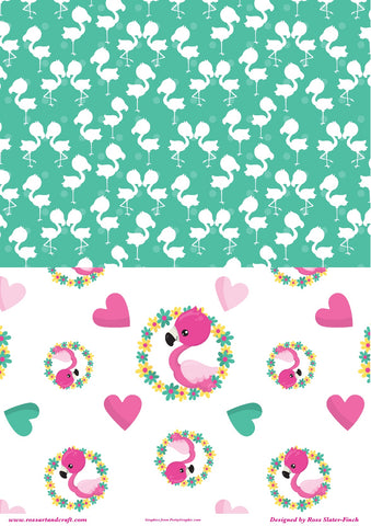 Flamingo Background Sheet Digital Cardmaking Download