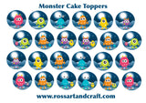 Monster Cake Toppers Digital Download