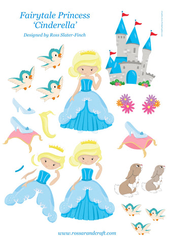 Fairytale Princess - Cinderella Step-By-Step Sheet Digital Cardmaking Download