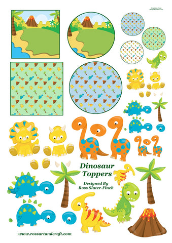 Dinosaurs Topper Sheet Digital Cardmaking Download