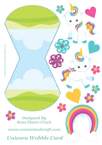 Rainbow Unicorn Wobble Card Digital Cardmaking Download