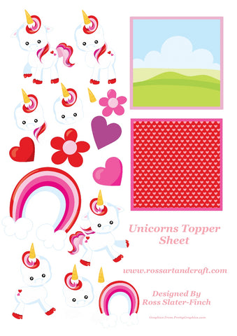 Unicorn Love Card Topper Sheet Digital Cardmaking Download