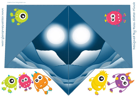 Monsters Pyramid Shaped Card Digital Cardmaking Download