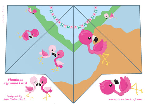 Flamingo Pyramid Shaped Card Digital Cardmaking Download