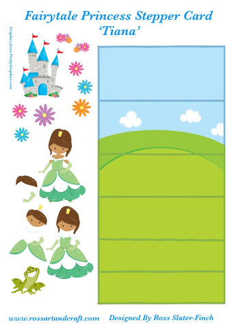Fairytale Princess - Tiana Stepper Card Digital Cardmaking Download