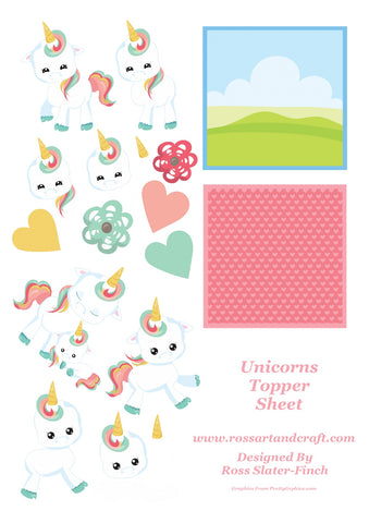 Floral Unicorn Topper Sheet Digital Cardmaking Download