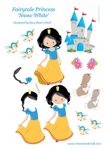 Fairytale Princess - Snow White Step-By-Step Sheet Digital Cardmaking Download