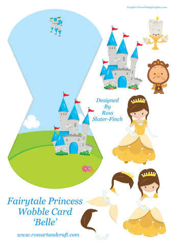Fairytale Princess - Belle Wobble Card Digital Cardmaking Download