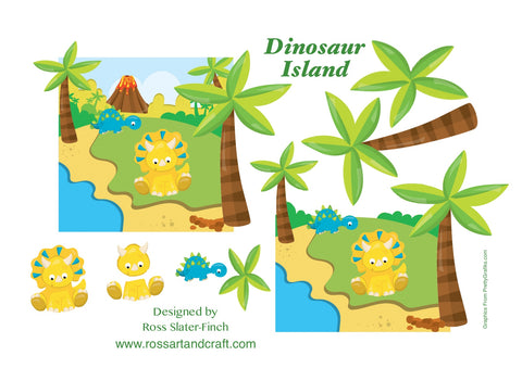 Dinosaurs Step-By-Step Sheet Digital Cardmaking Download