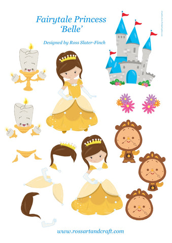 Fairytale Princess - Belle Step-By-Step Sheet Digital Cardmaking Download