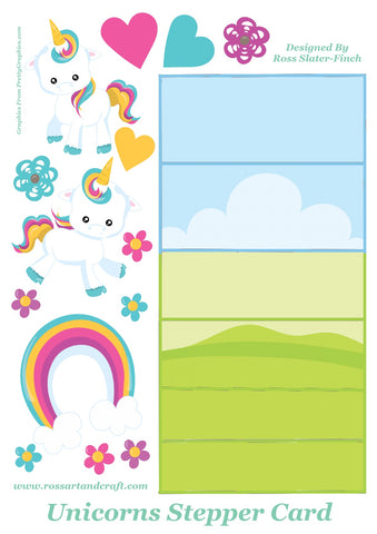 Rainbow Unicorn Stepper Card Digital Cardmaking Download