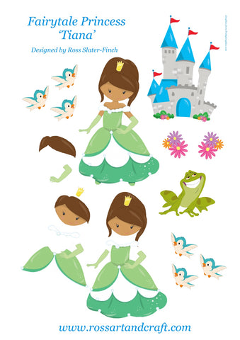 Fairytale Princess - Tiana Step-By-Step Sheet Digital Cardmaking Download