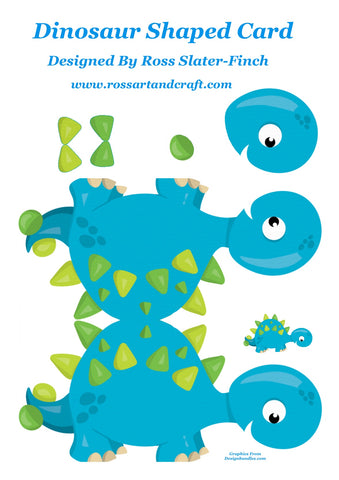 Dinosaurs Shaped Card Digital Cardmaking Download
