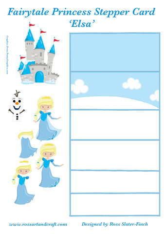 Fairytale Princess - Elsa Stepper Card Digital Cardmaking Download