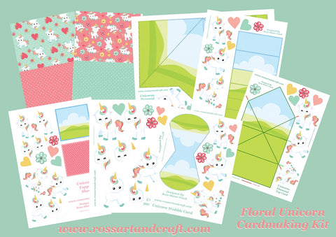 Floral Unicorn Digital Cardmaking Download Kit
