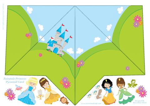 Fairytale Princess Pyramid Shaped Card Digital Cardmaking Download