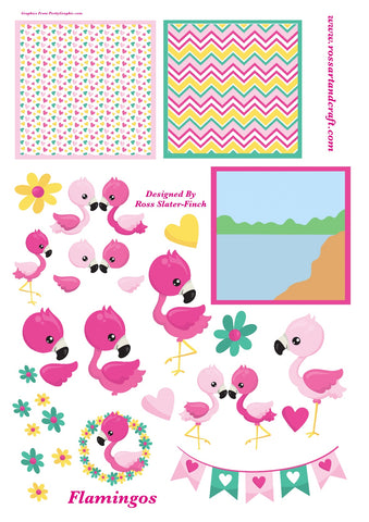 Flamingo Topper Sheet Digital Cardmaking Download