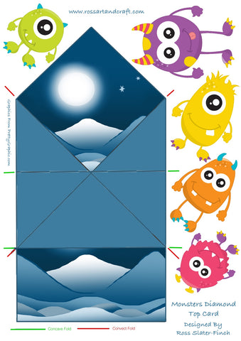 Monsters Diamond Topped Shaped Card Digital Cardmaking Download