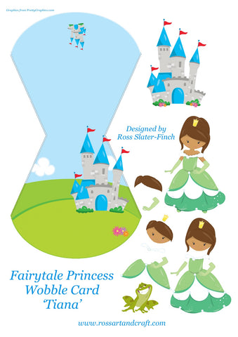 Fairytale Princess - Tiana Wobble Card Digital Cardmaking Download