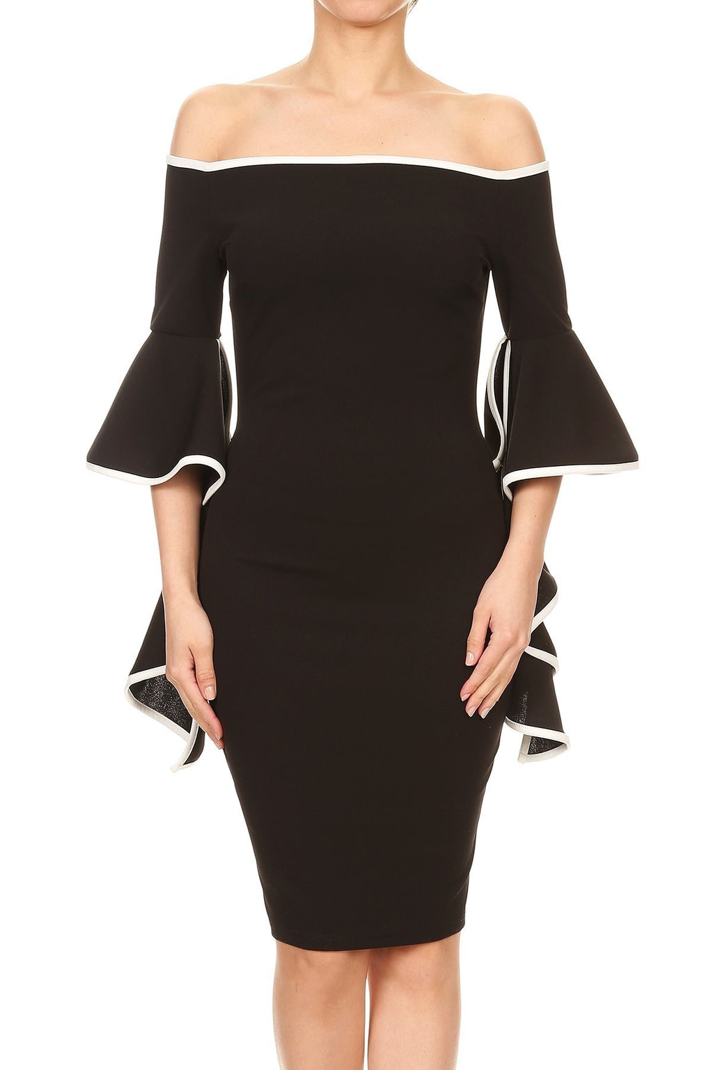 Low Shoulder Bell Sleeve Dress