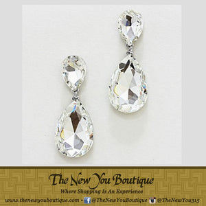 Crystal Clear Tear Drop Earrings