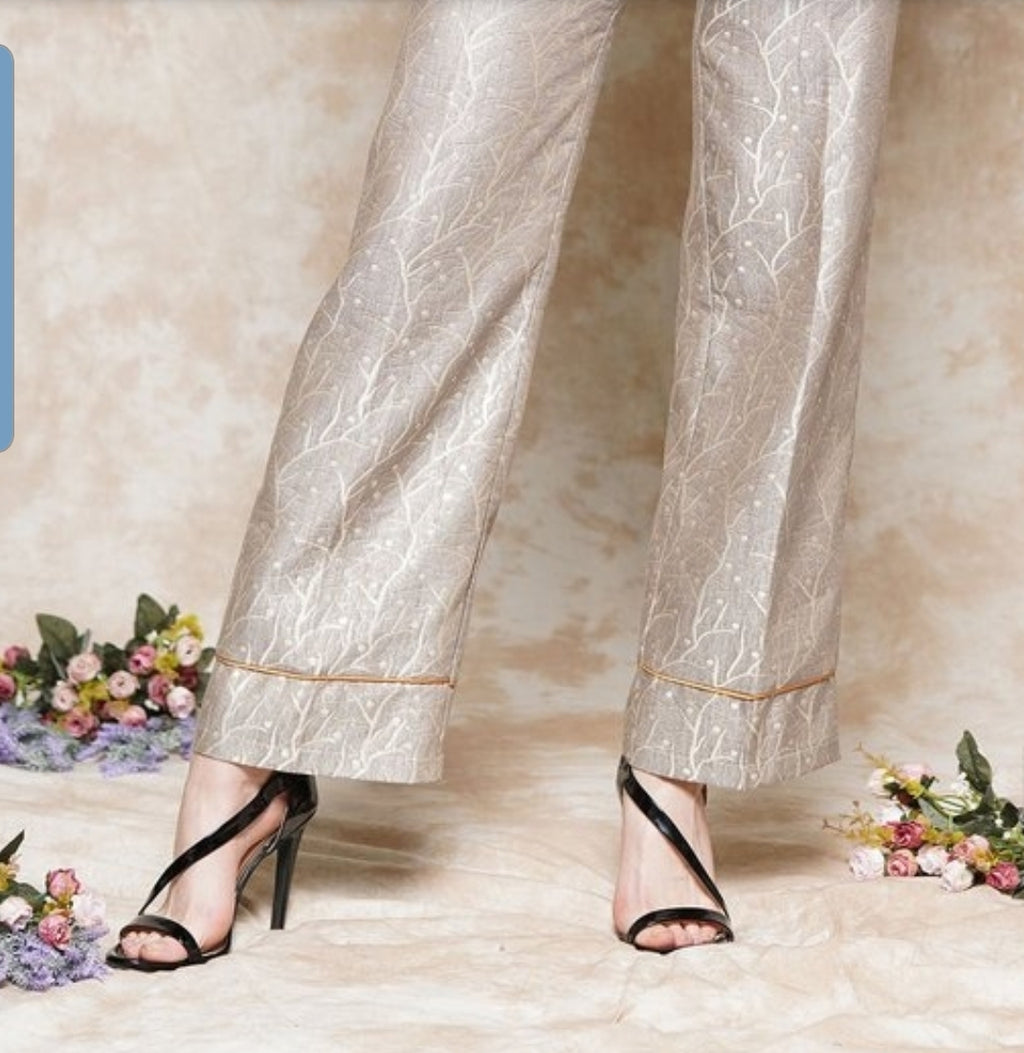 Metalic Brocade Wide Leg Pant