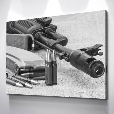 AK47 Black And White Canvas - Amazing Canvas Prints