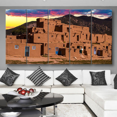 Adobe Houses In The City Of Taos
