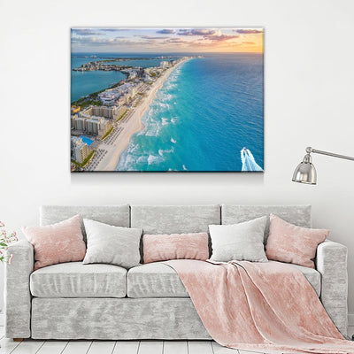 Aerial View Of Cancun Beach - Amazing Canvas Prints