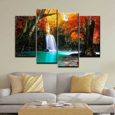 Autumn Forest Waterfall - Amazing Canvas Prints