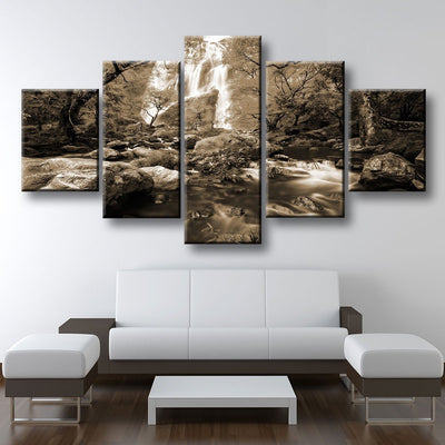 Autumn Waterfalls Sepia - Amazing Canvas Prints