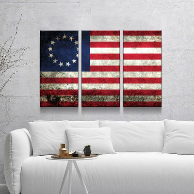 Rustic Betsy Ross Flag - Amazing Canvas Prints