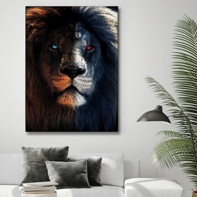 Blue And Red Eyed Lion - Amazing Canvas Prints