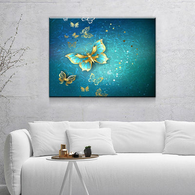 Blue And Gold Butterflies - Amazing Canvas Prints