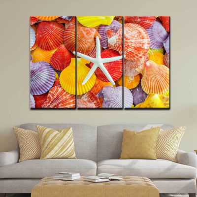 Colorful Scallop Seashells and Starfish - Amazing Canvas Prints