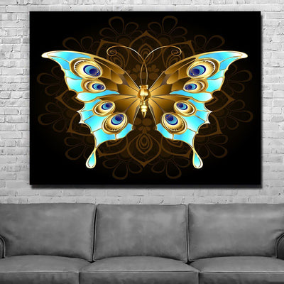 Gold And Blue Butterfly - Amazing Canvas Prints