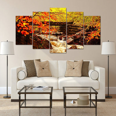 Golden Autumn Waterfall - Amazing Canvas Prints