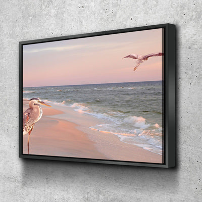 Great Blue Herons on the Beach - Amazing Canvas Prints