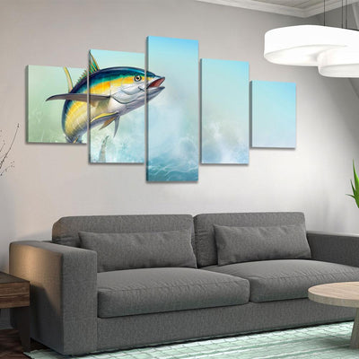 Jumping Yellowfin Tuna - Amazing Canvas Prints
