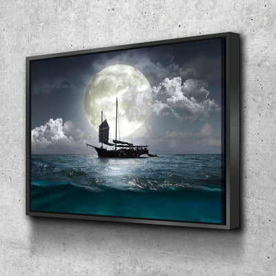 Moonlit Ship - Amazing Canvas Prints