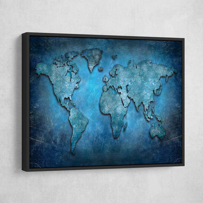 Blue Abstract World Map