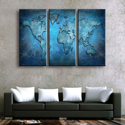 Blue Abstract World Map - Amazing Canvas Prints