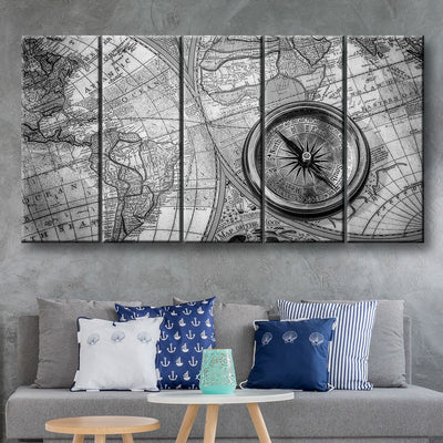 Compass On Old World Map