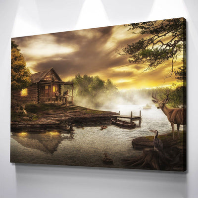 Cabin By The Lake - Amazing Canvas Prints