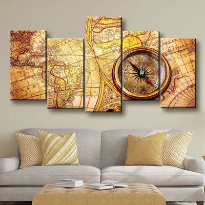 Compass On Old World Map - Amazing Canvas Prints