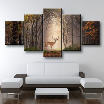 Deer In Misty Forest - Amazing Canvas Prints