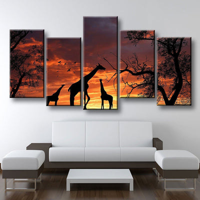 Giraffes At Sunset - Amazing Canvas Prints