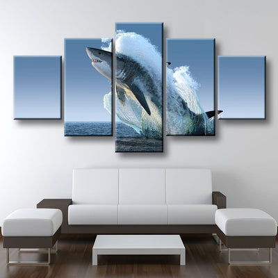 Jumping Great White Shark - Amazing Canvas Prints
