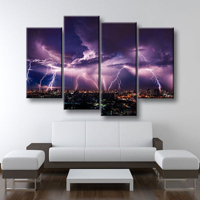Lightning Over City - Amazing Canvas Prints
